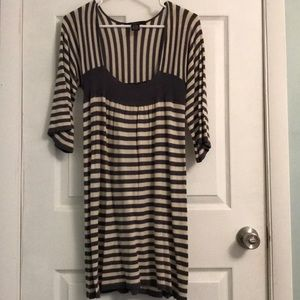 Striped cotton dress::cream & green